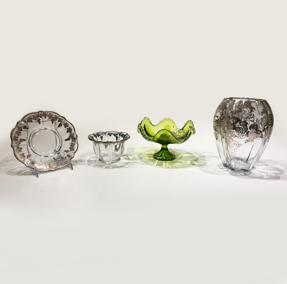 Four Japanese Silver Overlay on Glass Pieces