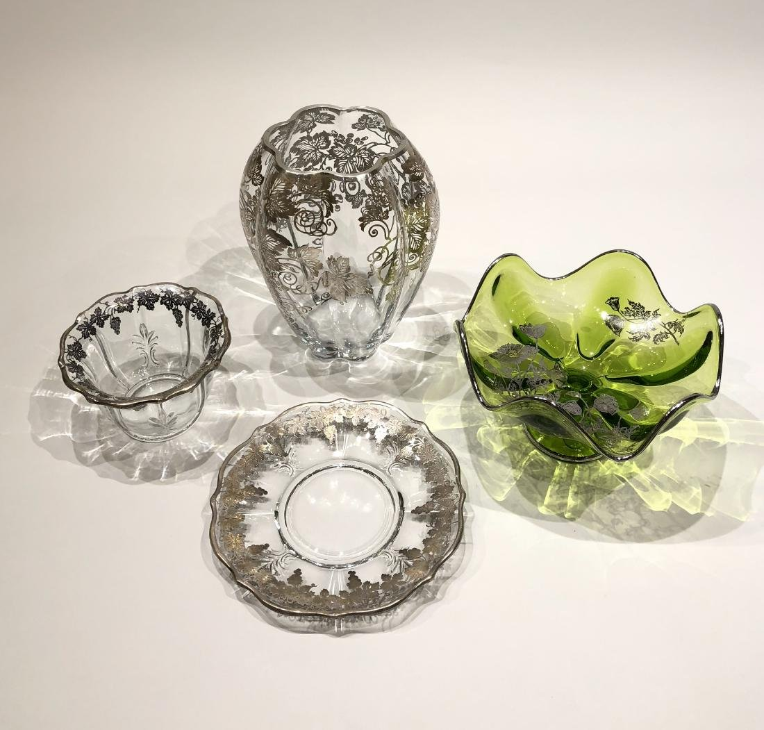 Four Japanese Silver Overlay on Glass Pieces - 2