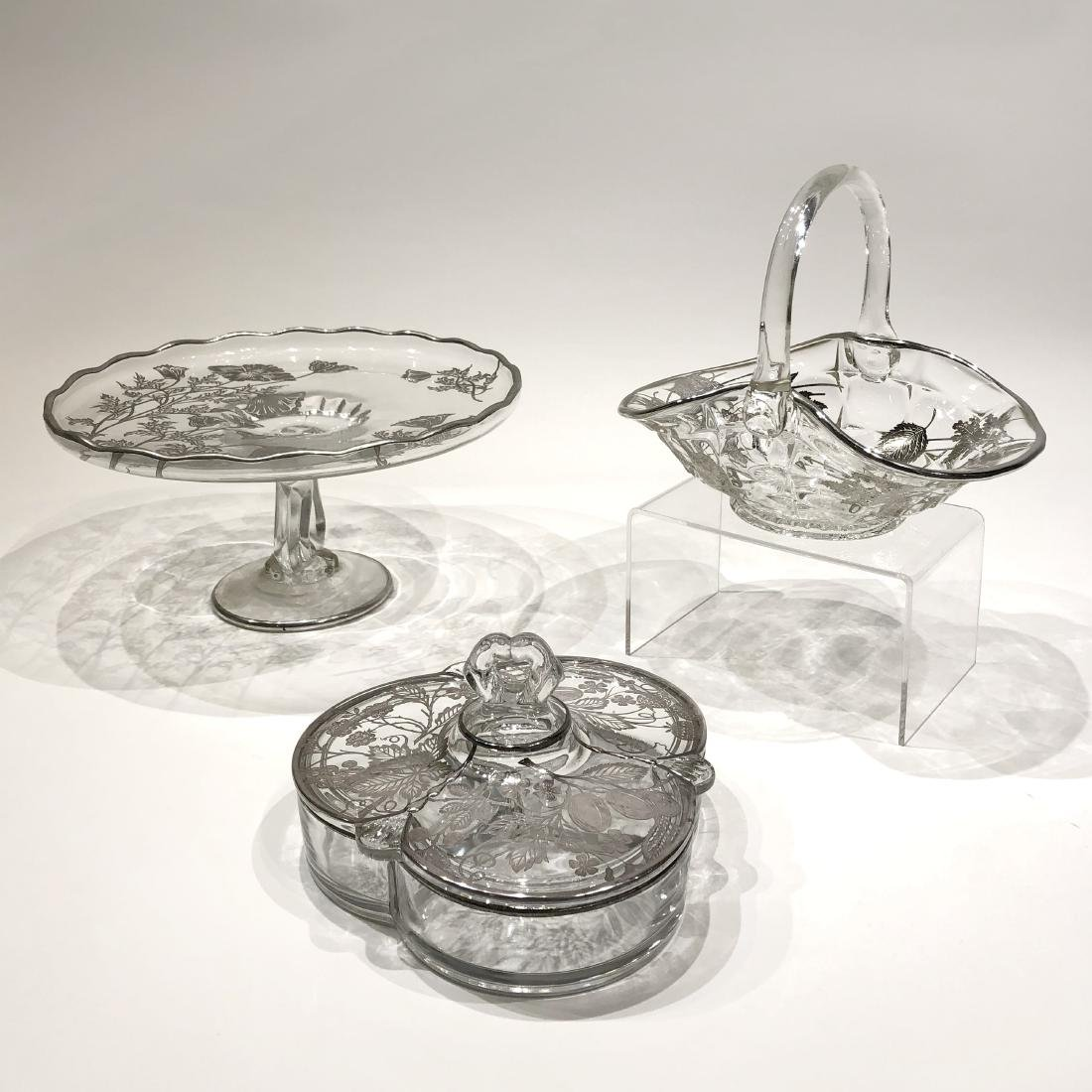 Three Japanese Silver Overlay Glass Pieces