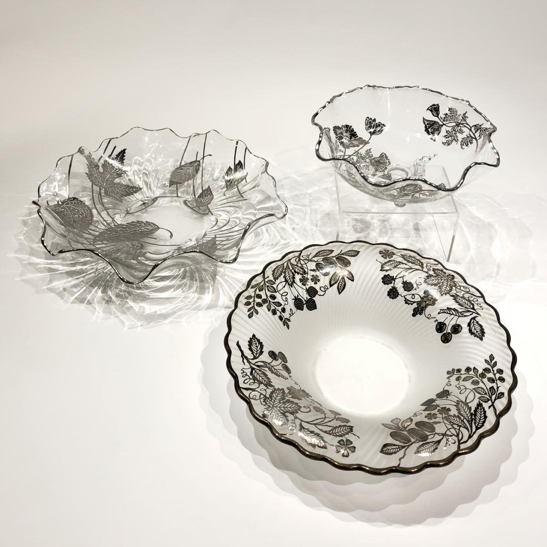 Three Japanese Silver Overlay Glass Dishes