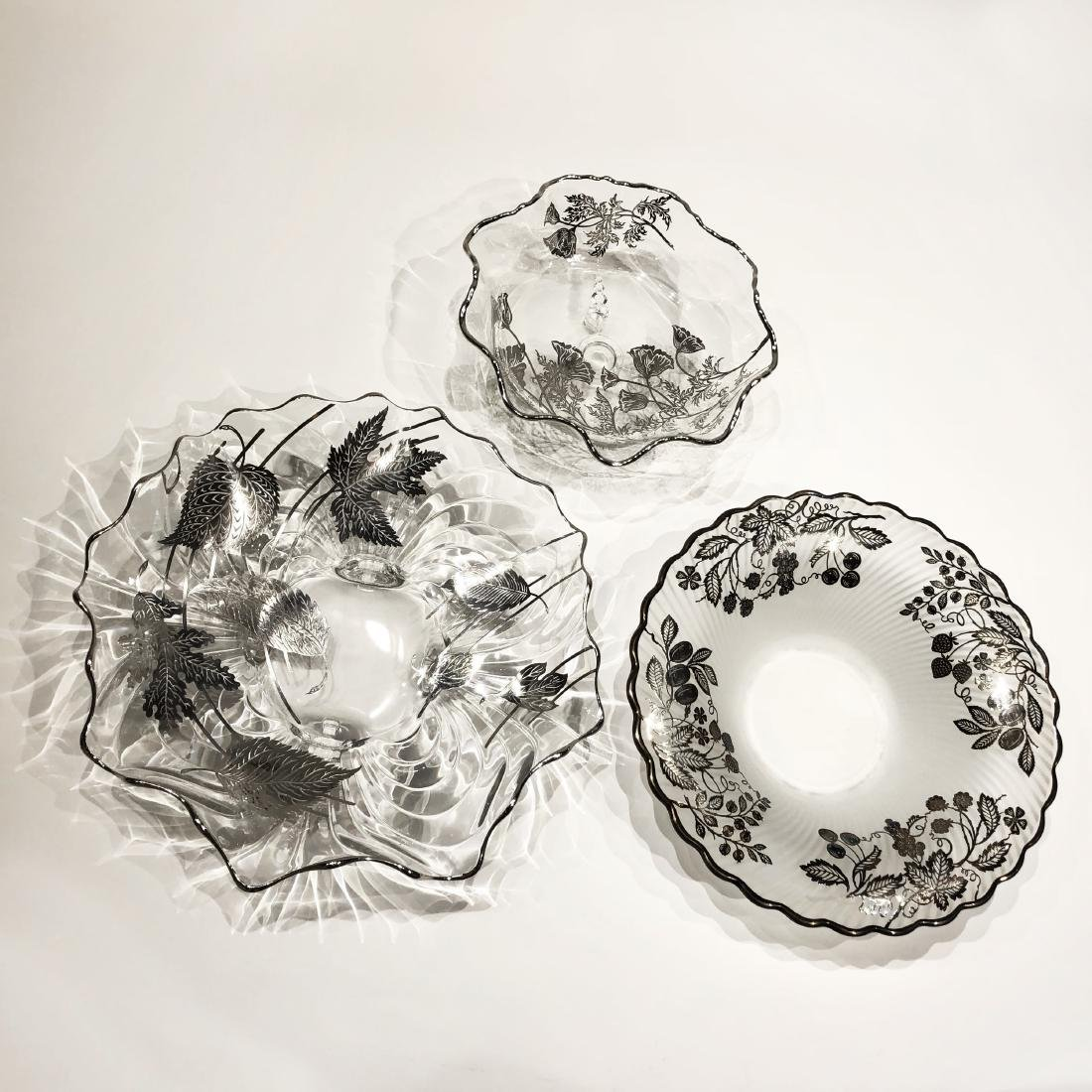 Three Japanese Silver Overlay Glass Dishes - 3