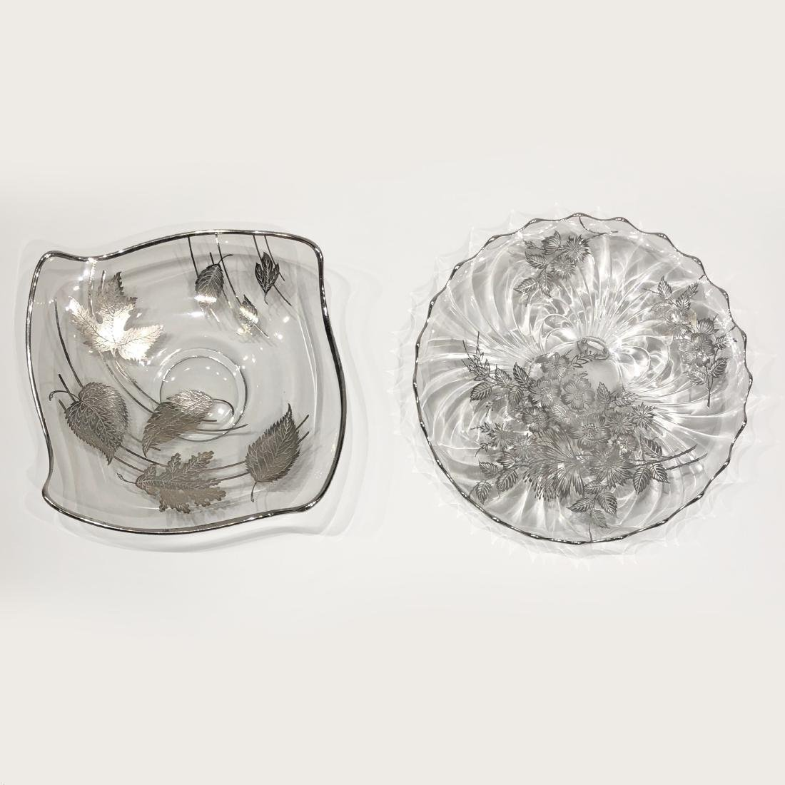 Two Japanese Silver Overlay Glass Platters - 3