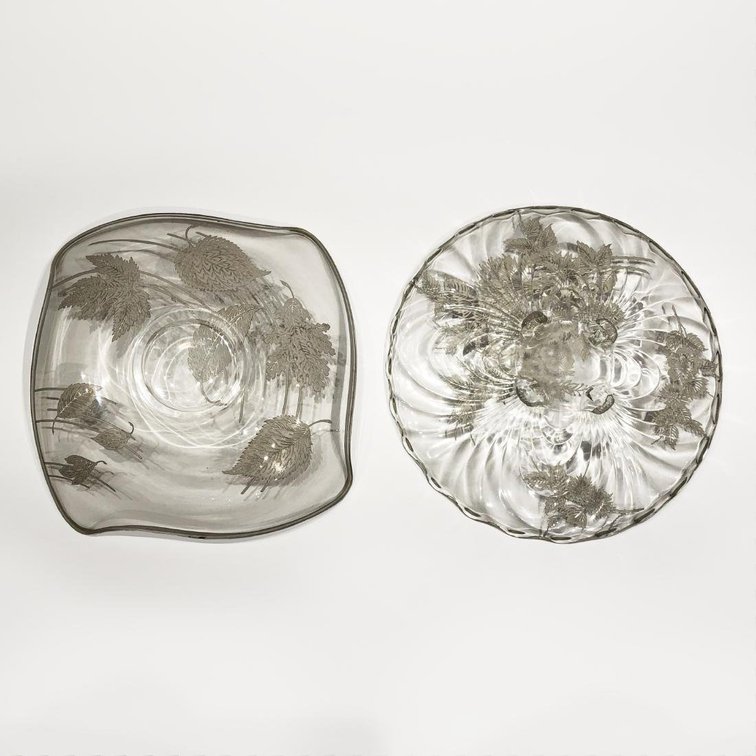 Two Japanese Silver Overlay Glass Platters - 4