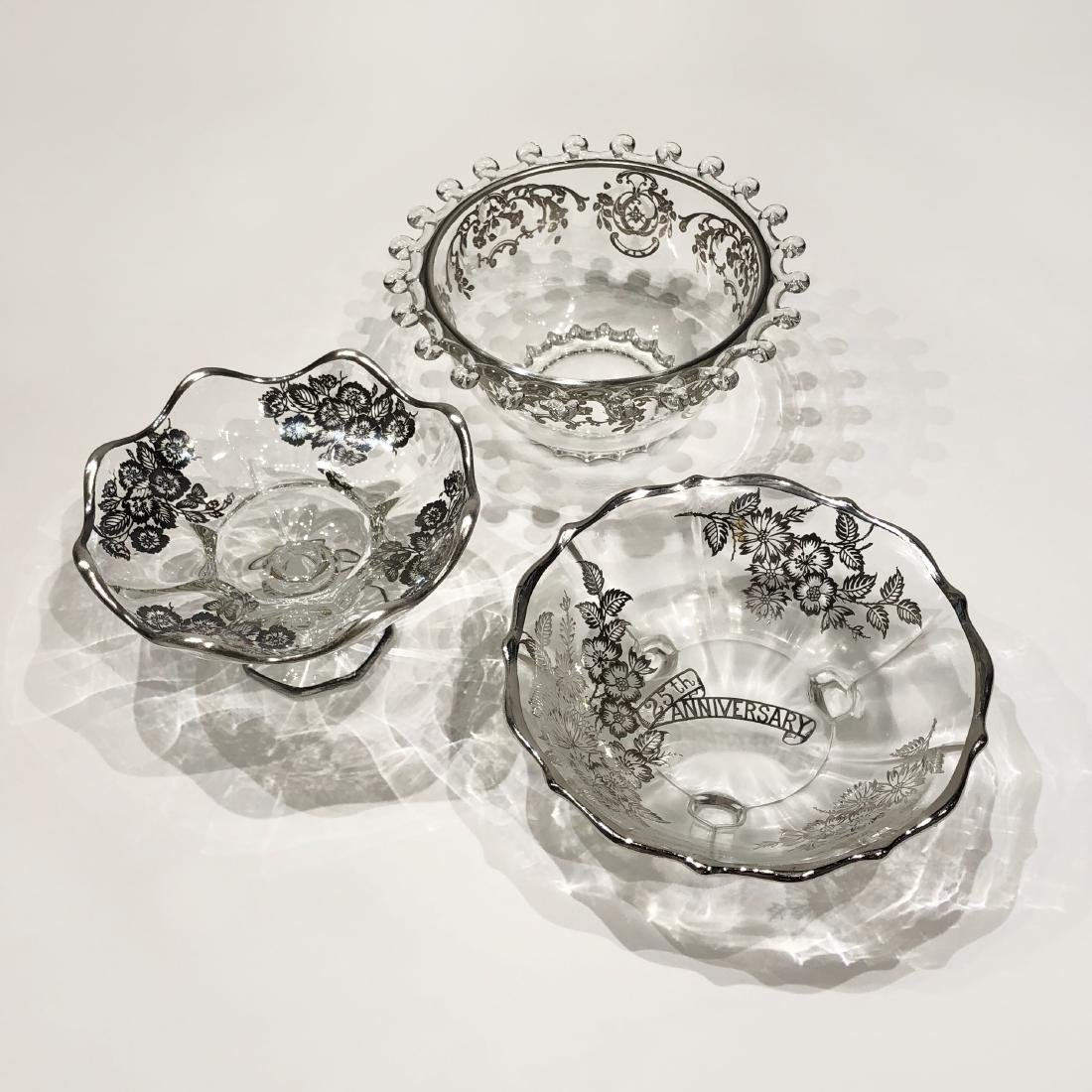 Three Japanese Silver Overlay Glass Bowls