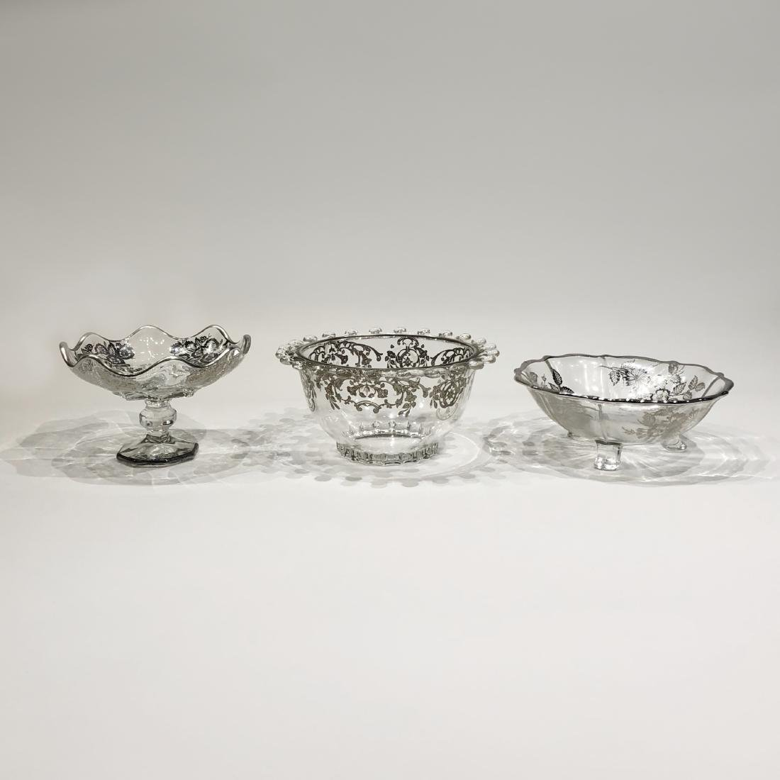 Three Japanese Silver Overlay Glass Bowls - 2