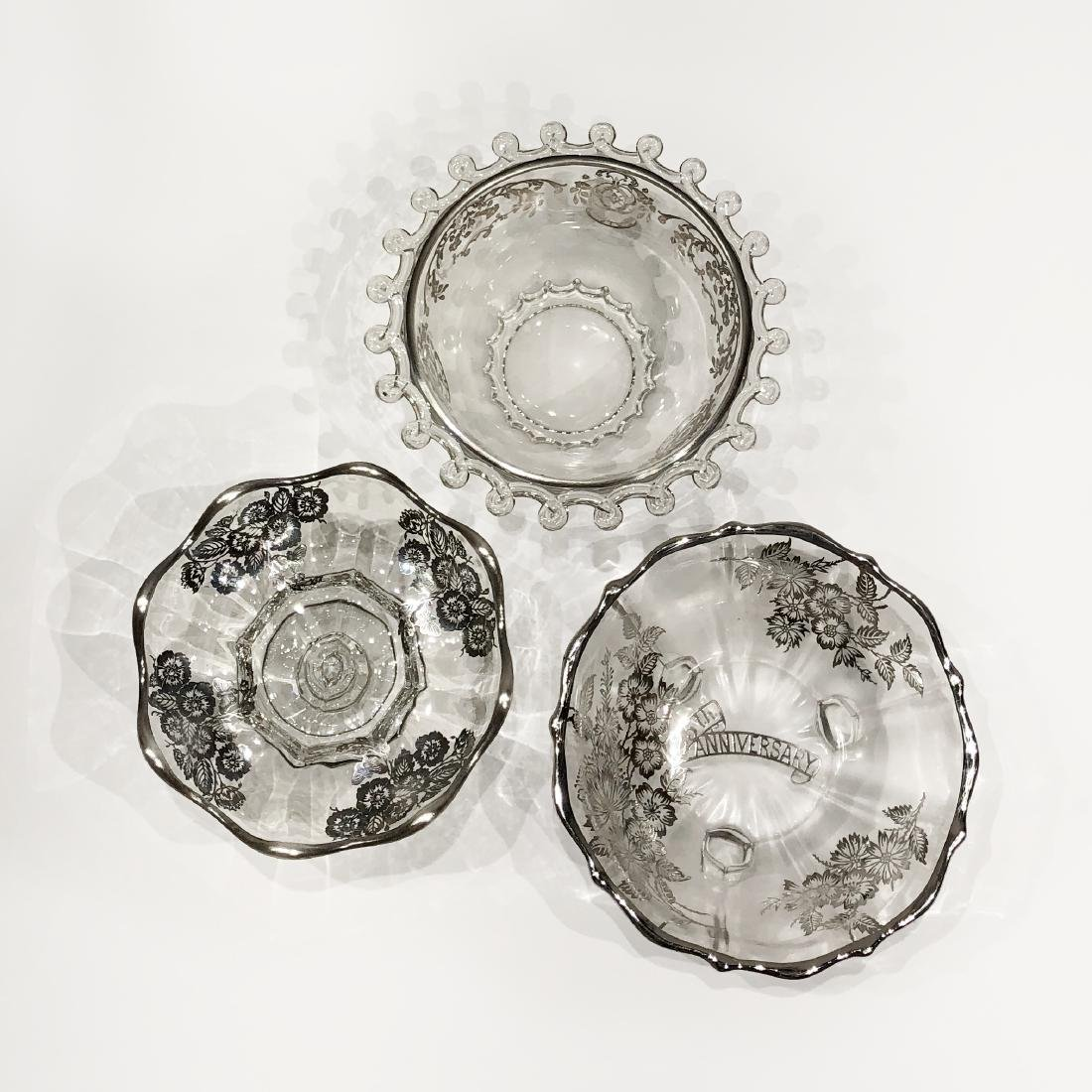 Three Japanese Silver Overlay Glass Bowls - 3