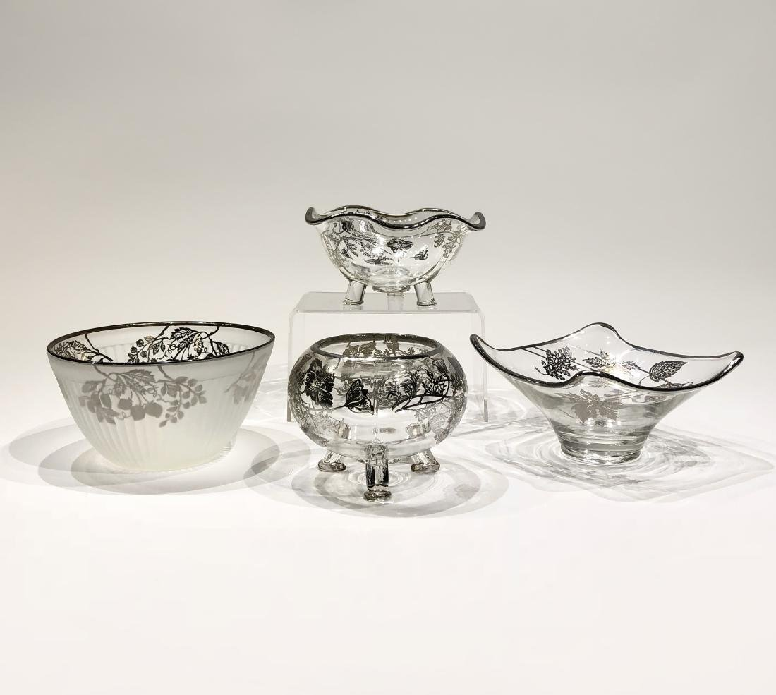 Four Japanese Silver Overlay Glass Bowls - 2