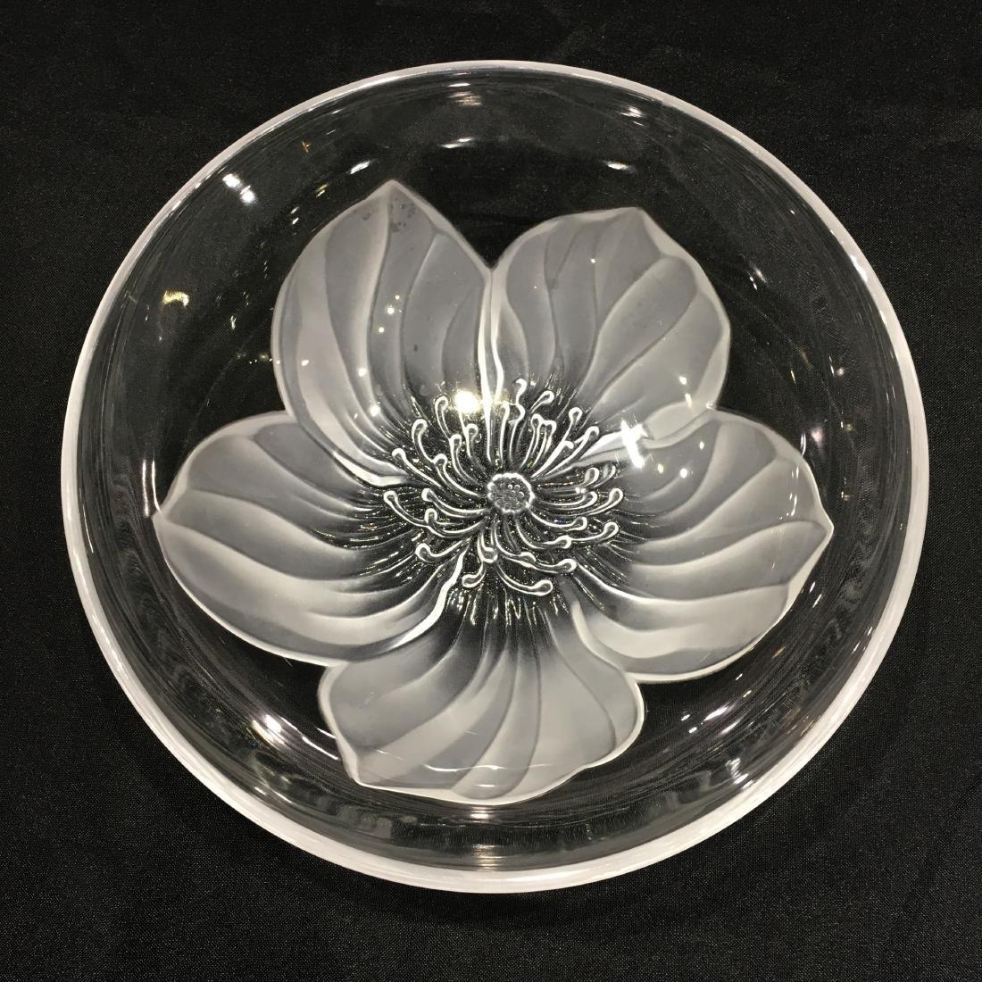 Japanese Sasaki Flower Crystal Bowl - 2