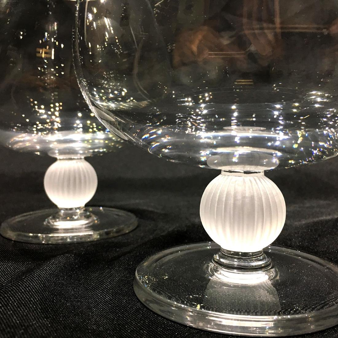 Pair of Japanese Sasaki Crystal Brandy Snifters - 2