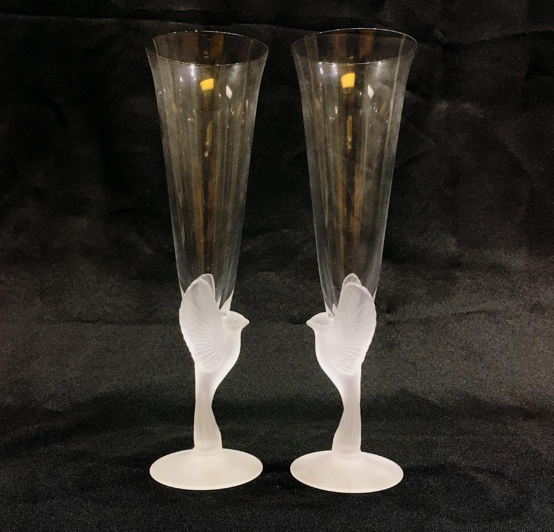 Pair of Japanese Sasaki Crystal Champagne Flutes