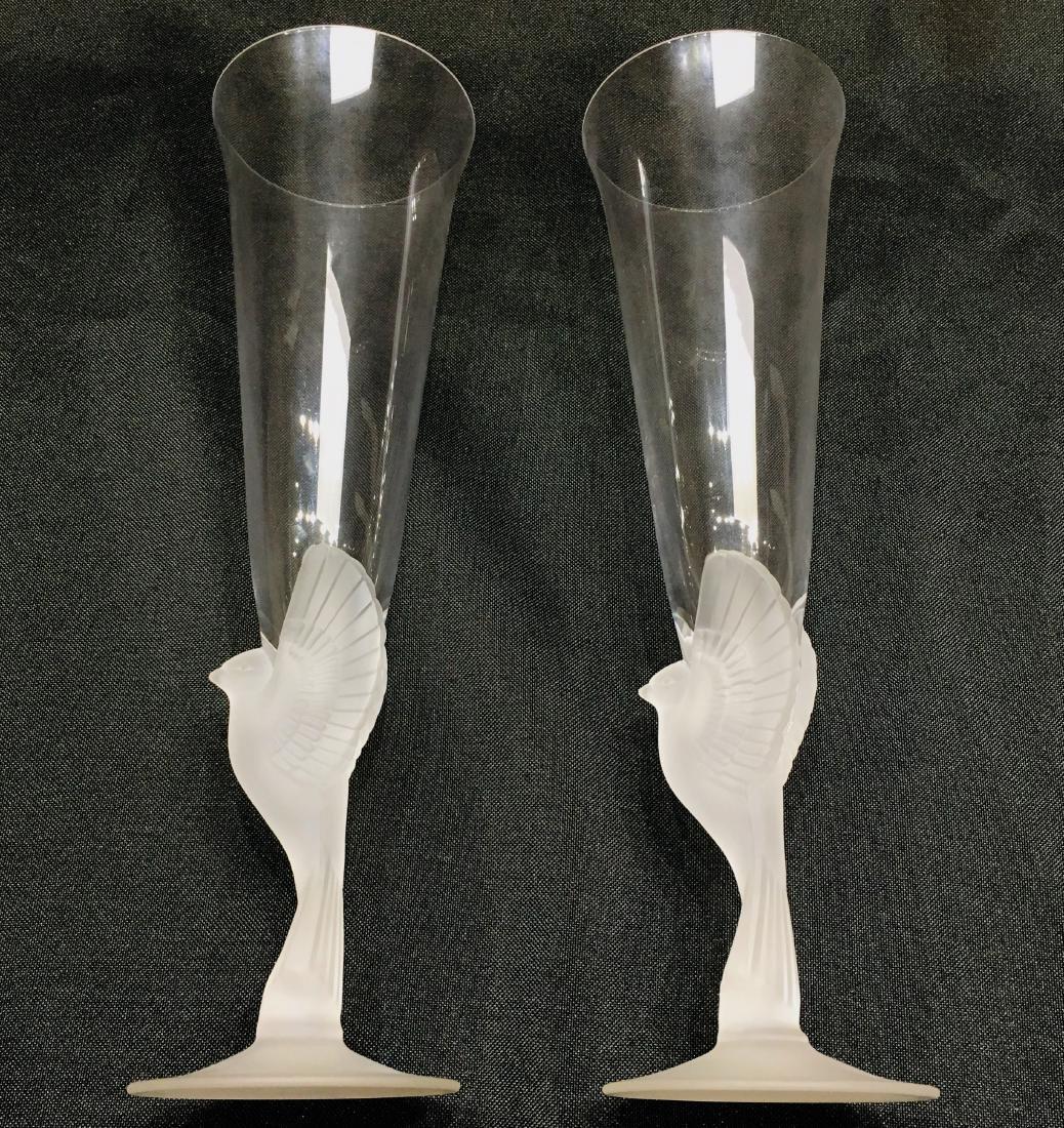 Pair of Japanese Sasaki Crystal Champagne Flutes - 5
