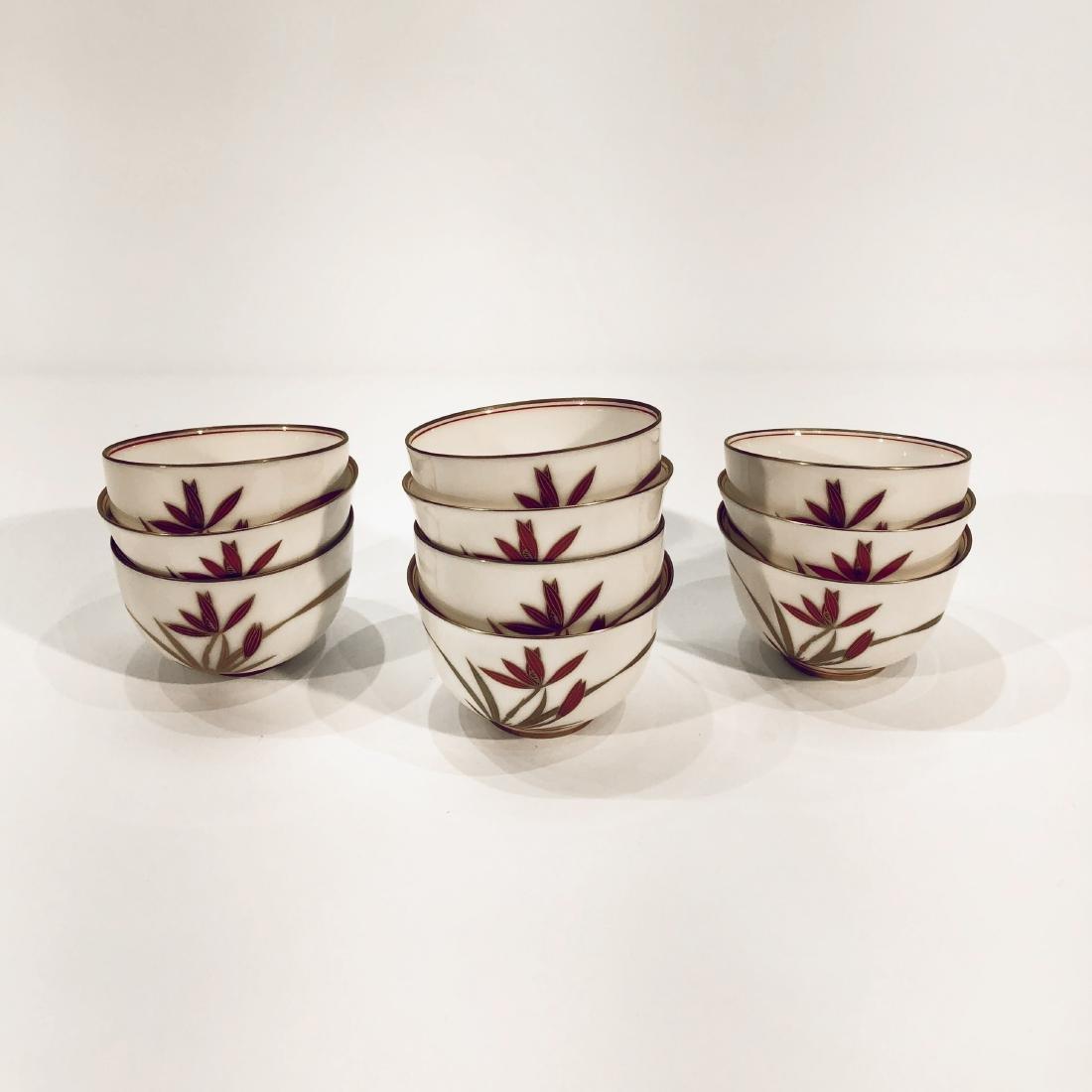 Set of 10 Japanese Porcelain Tea Cups