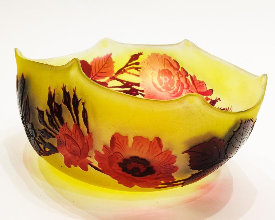 Fine Galle Glass Bowl, Signed - 3