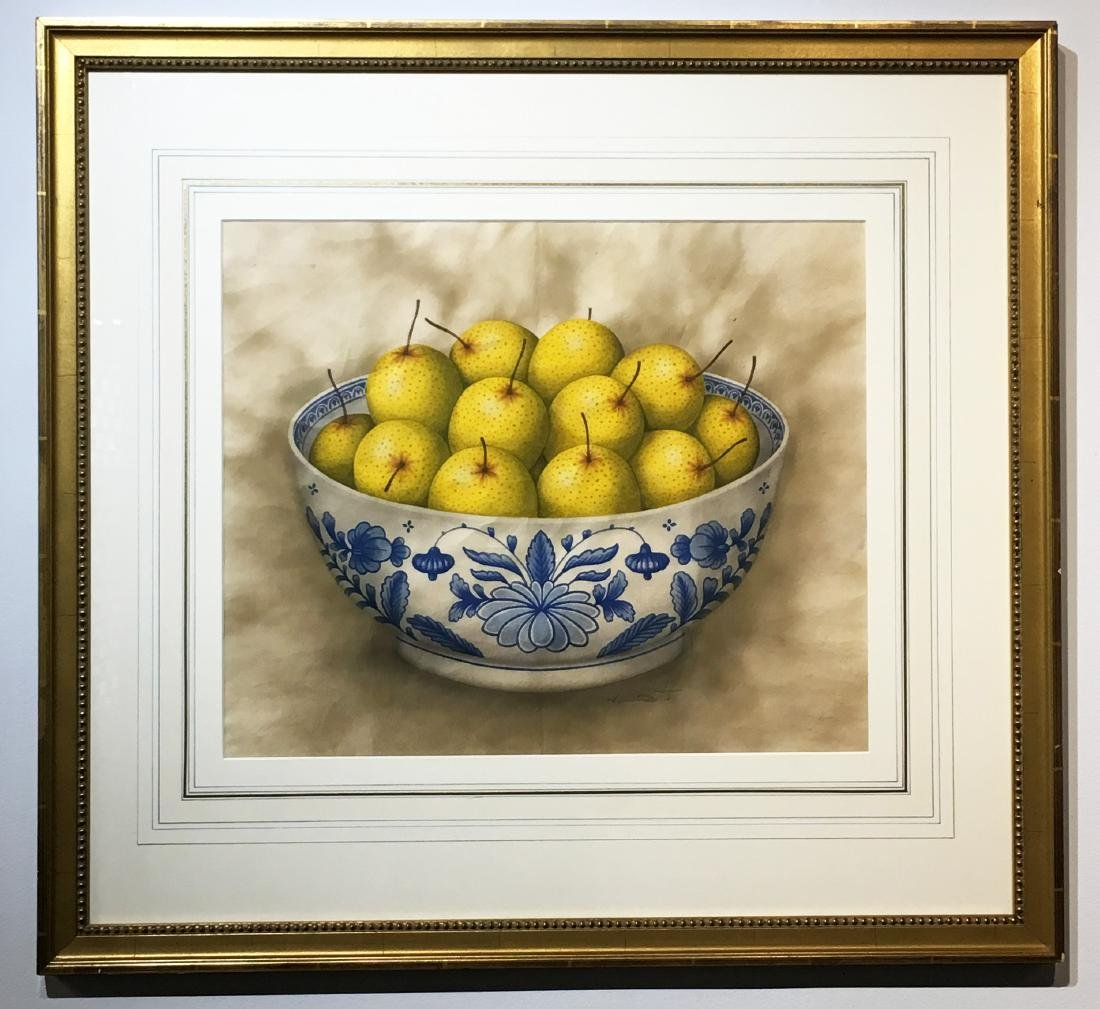 Painting of Chinese Pears in Blue & White Bowl