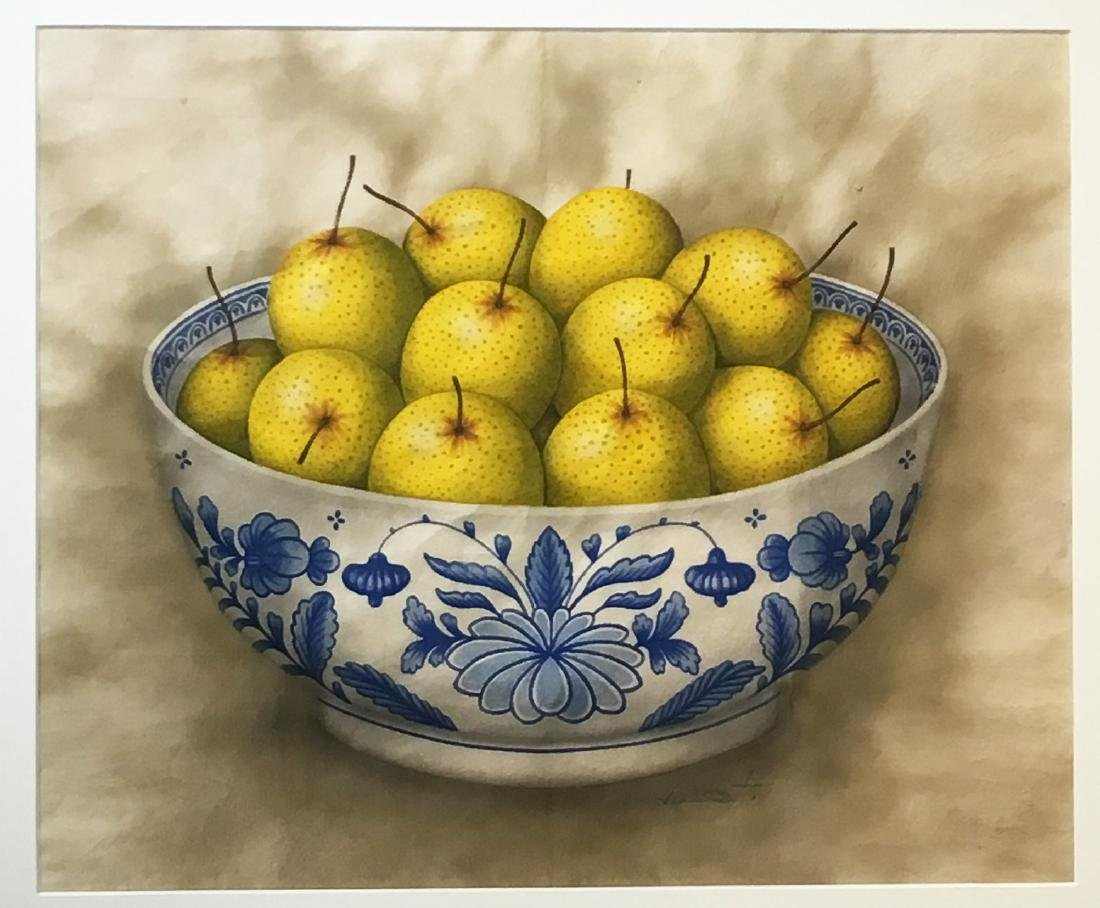 Painting of Chinese Pears in Blue & White Bowl - 2