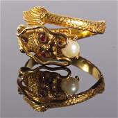 Antique 18K Gold Dragon Ring with Pearl and Ruby Eyes