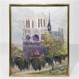 Notre Dame, Oil On Canvas, Signed Antoinette Schulte