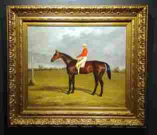 Oil on Canvas, Paddock Scene with Horse & Jockey,