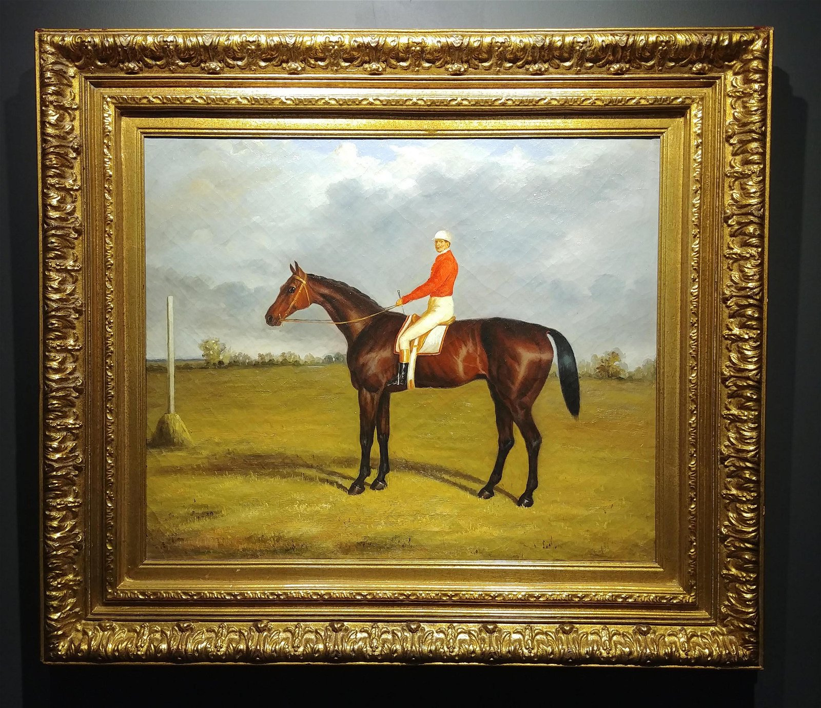 Oil on Canvas, Paddock Scene with Horse & Jockey,