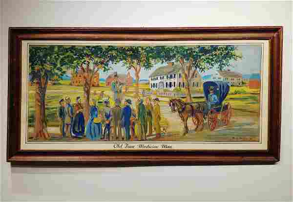 Oil on Canvas, Signed R.W. Pierce, Old Time Medicine