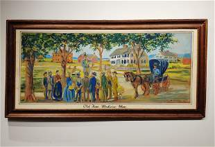 Oil on Canvas Signed RW Pierce Old Time Medicine