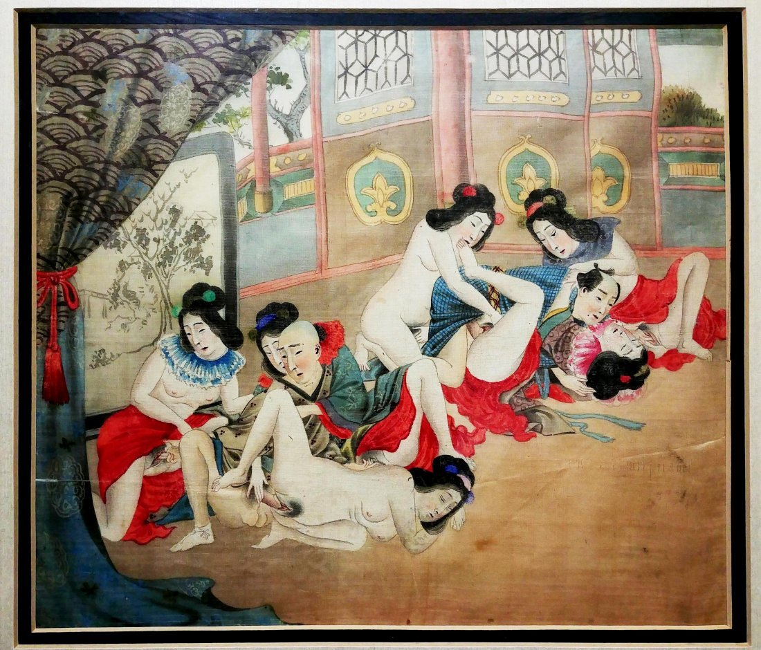 Antique Erotic Painting On Silk, Japanese