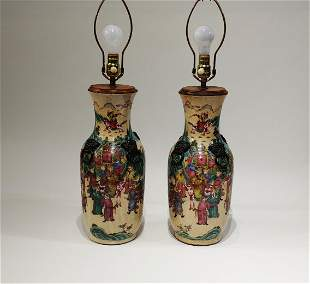 A Pair of Chinese Porcelain VaseLamps Hallmarked