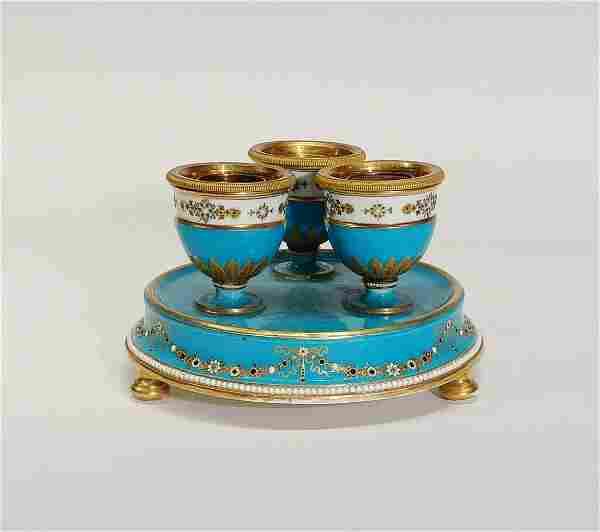 Sevres Jeweled Porcelain Inkwell Set