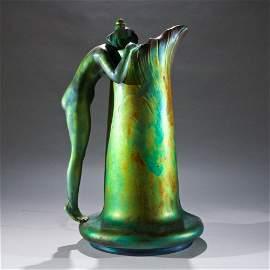 Zsolnay Eosin Glazed Pottery Ewer.
