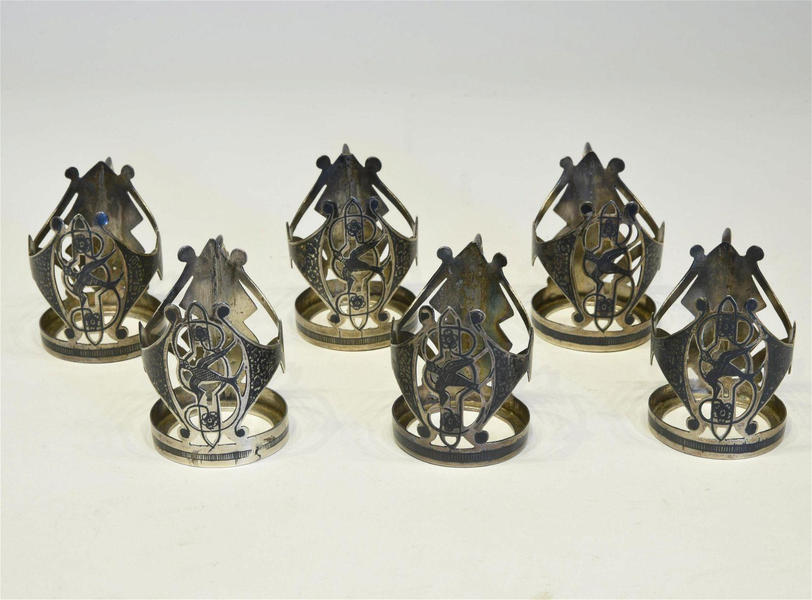 Six Russian Niello Silver Tea Glass Holders