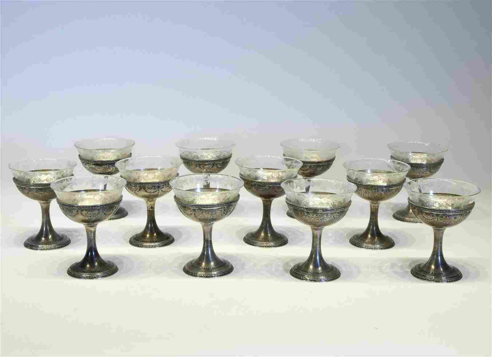 Twelve Silver and Crystal Sherbet Bowls