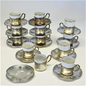 Sterling Silver & Porcelain Demitasse Set