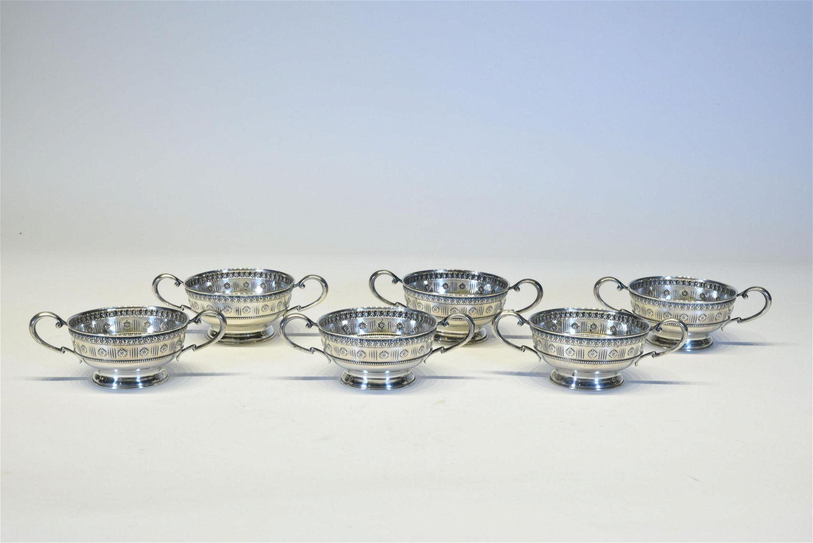 Six Sterling Silver  Sherbet Glass Holders