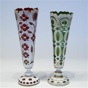 Two Bohemian Overlay & Cut Glass Vases