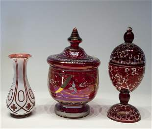 Lot of Bohemian Cranberry Glassware