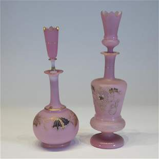 Two French Pink Opaline Glass Bottles