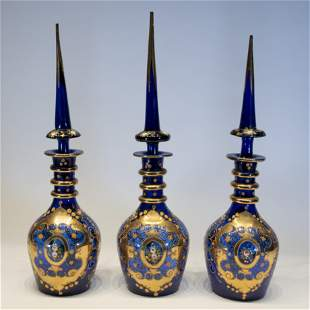 Three Large Bohemian Glass Bottles