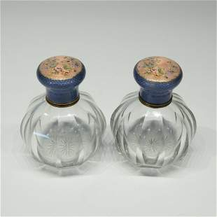Pair of French Guilloche & Enamel Perfume Bottles