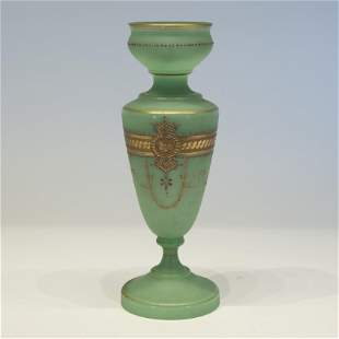 French Opaline Green Glass Vase