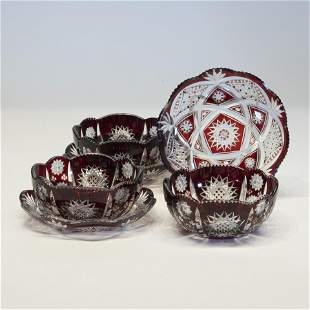 Lot of Three Bohemian Glass Bowls & Saucers