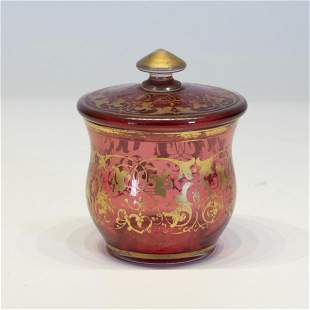 Bohemian Cranberry Glass Covered Jar