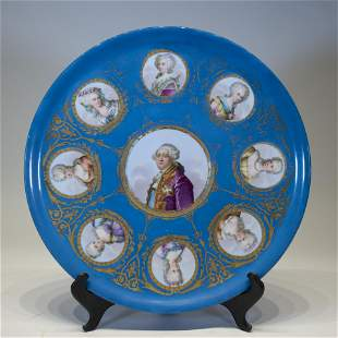 A Sevres Porcelain Charger Depicting Louis XV