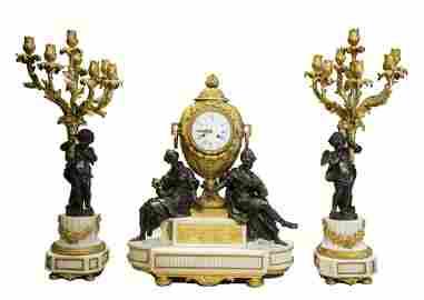 French Bronze, Marble & Ormolu Clock Set