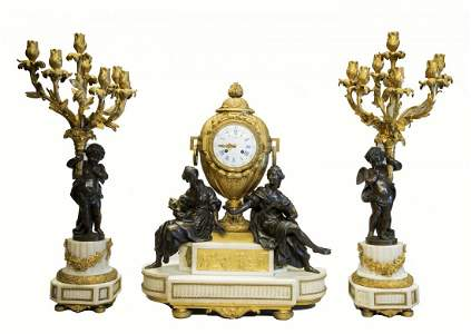 French Bronze, Marble & Ormolu Clock Set