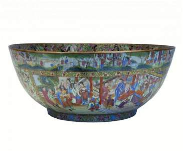 Massive Famille Rose Mandarin Bowl, 24 inches