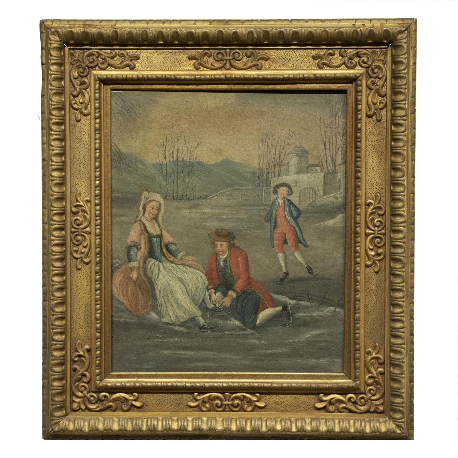 Oil on Canvas Painting, Ice Skating on a Lake