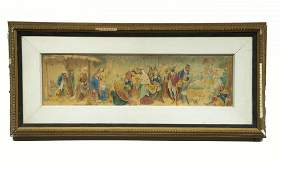 Christ Visited by Three Wisemen, Antique Watercolor
