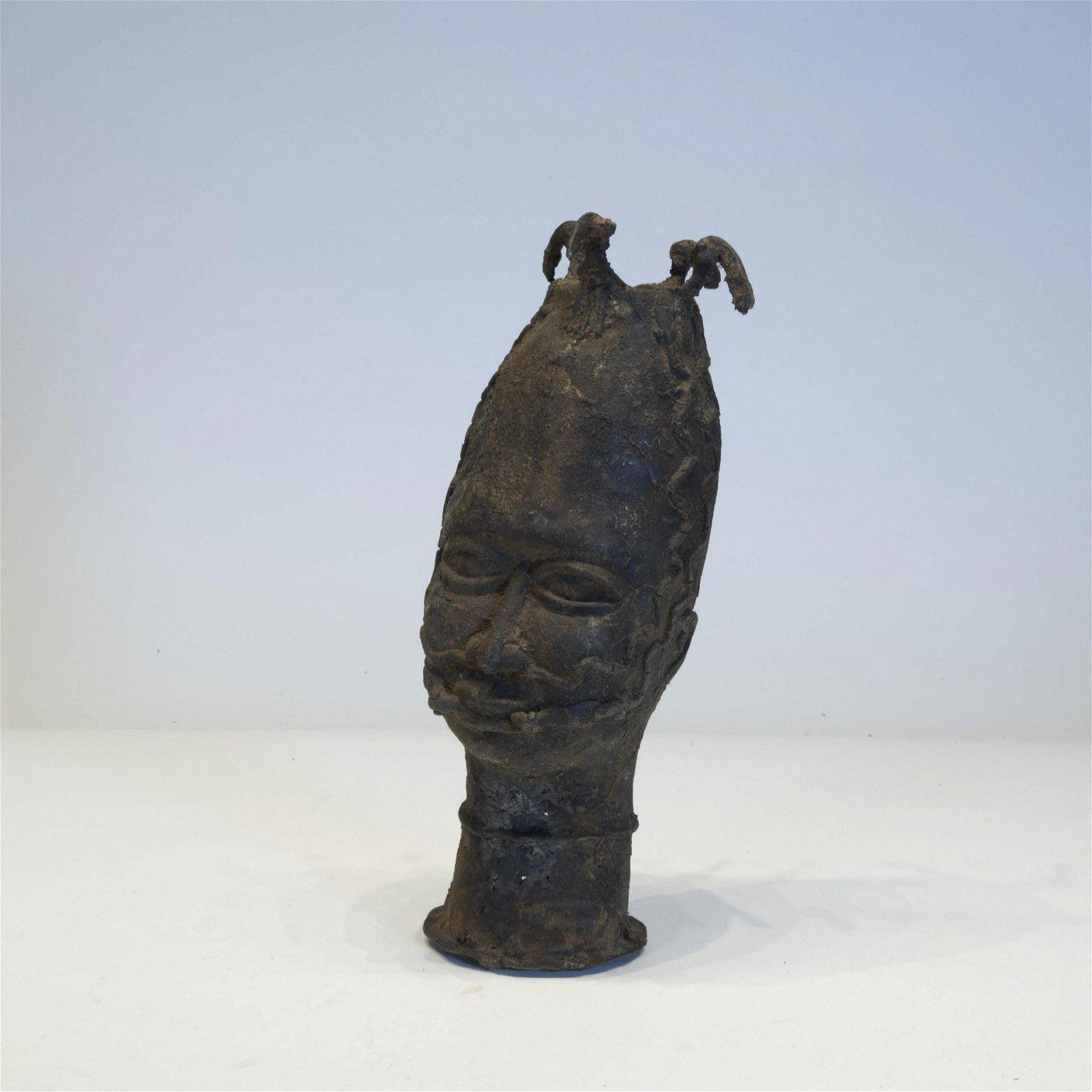 Benin Bronze Head of a Man, African Art