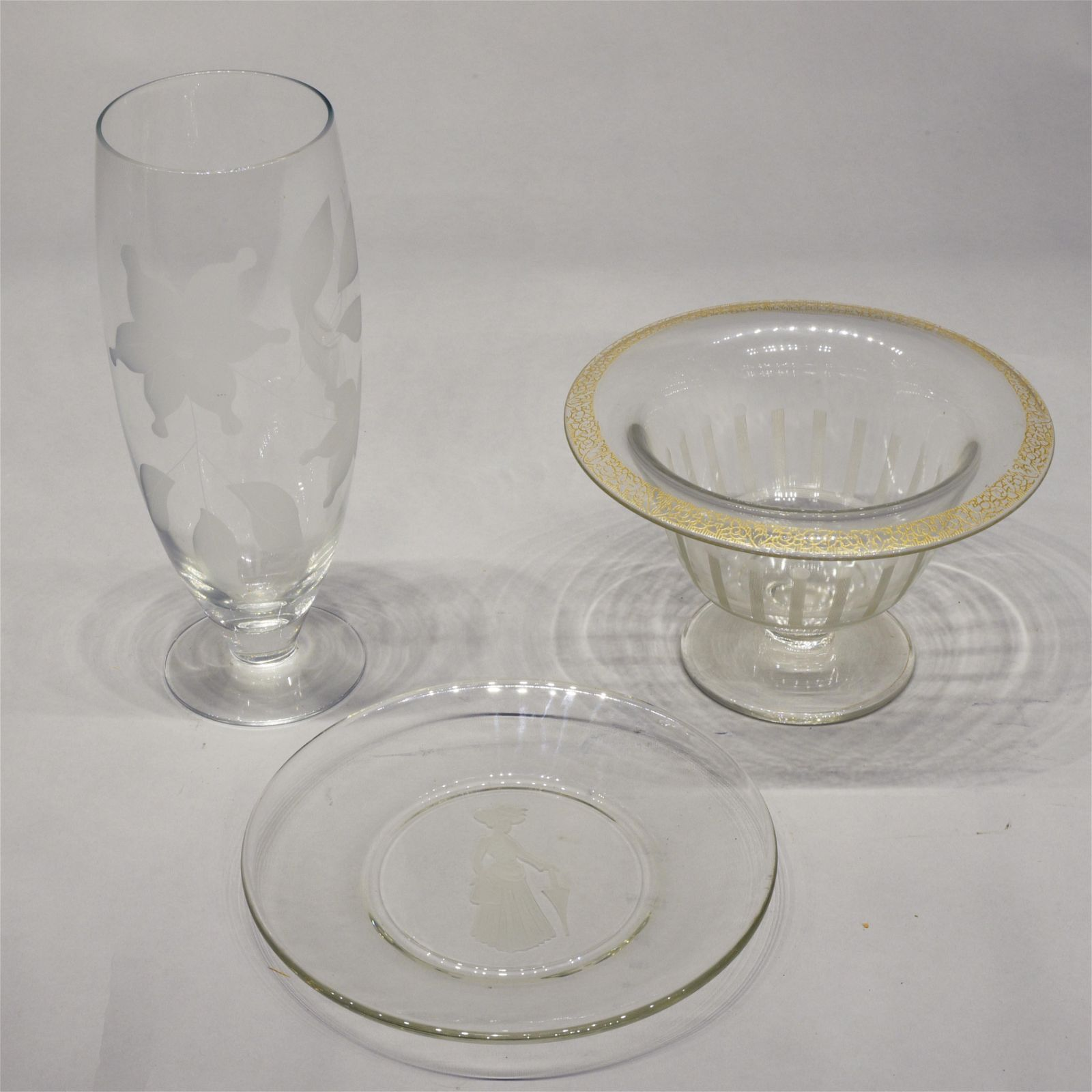 Three Pieces of Etched Glass