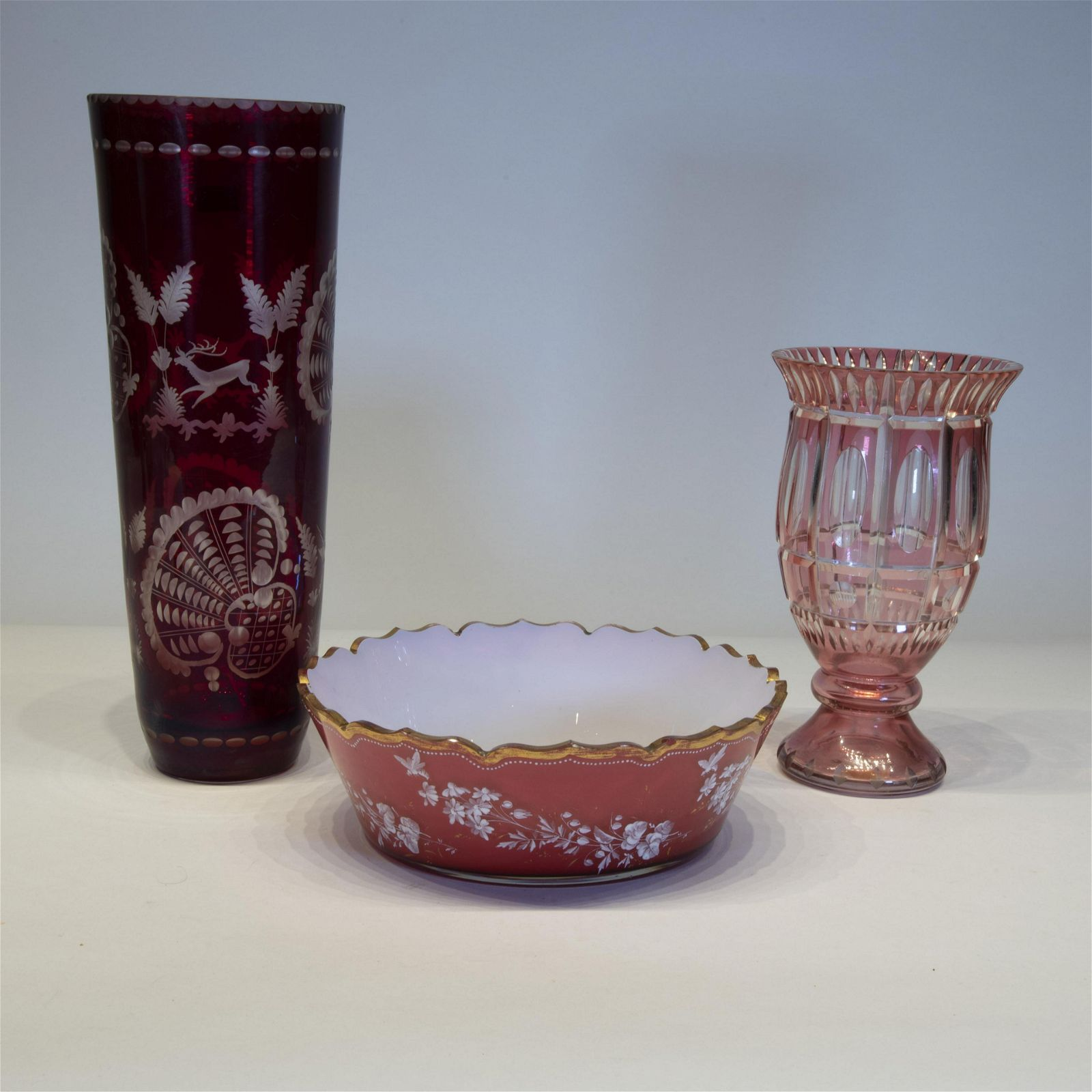 Lot of three Bohemian Overlay Glass Objects